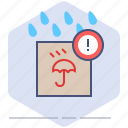 caution, delivery, logistics, packet, rain, shipping, warning icon