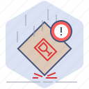 caution, fall, fragile, logistics, packet, shipping, warning icon