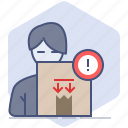 caution, counter, customer, delivery, logistics, packet, warning icon