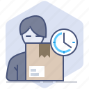 customer, delivery, logistics, packet, shipping, speed, time icon