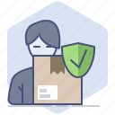 customer, delivery, guard, logistics, packet, shield, shipping icon