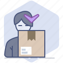 customer, delivery, logistics, package, packet, shipping, unpacking icon