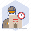 caution, counter, courier, delivery, logistics, packet, shipping icon