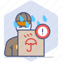 caution, courier, delivery, logistics, packet, rain, warning icon