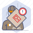 caution, courier, fragile, logistics, packet, shipping, warning icon