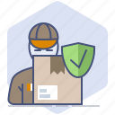 courier, delivery, logistics, packet, protection, shield, shipping icon