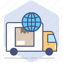 car, courier, logistics, packet, shipping, tracking, worldwide icon