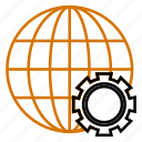 globe, globel, international, logistic, setting, travel, world icon