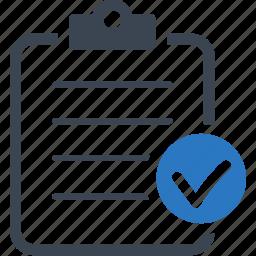 check mark, checklist, clipboard icon