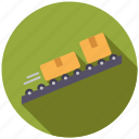 cargo, conveyor belt, logistics, parcels, shipping, transport icon