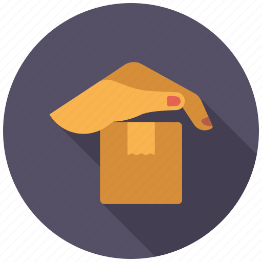 hand, insurance, logistics, parcel, protection, shipping, transport icon