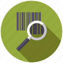 cargo, code, logistics, magnifying glass, searching, shipping, transport icon