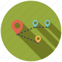 cargo, distribution, location, logistics, markers, route, transport icon
