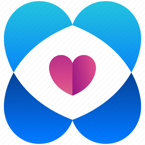 creative, design, heart, logogram, shape icon