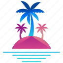 creative, design, island, logo, logogram, palm tree, shape icon