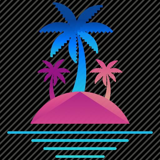 creative, design, island, logo, logogram, palm tree, shape icon