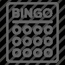 bingo, card, game, lotto icon
