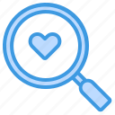magnifying, glass, heart, search, find, love