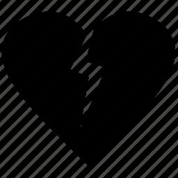 broken, heart, hurt, love, pain, sad icon