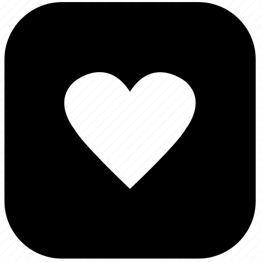 favourite, heart, like, love, rounded, social button, square icon