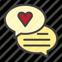 speech, bubble, heart, love, chat