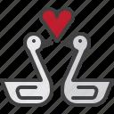 swan, couple, heart, love