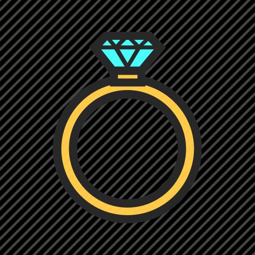 gift, love, present, ring, romantic, valentine, wedding icon