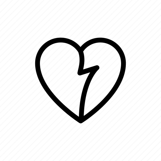 break, broken heart, heart, love icon