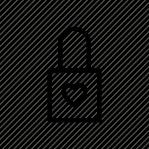 heart, love, marriage, padlock icon
