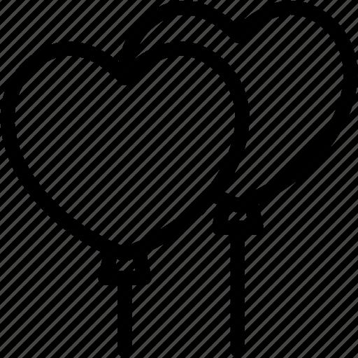 Heart, love, valentines, romance, lover, balloons icon