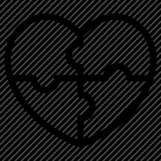 heart, jigsaw, love, lover, romance, valentines icon