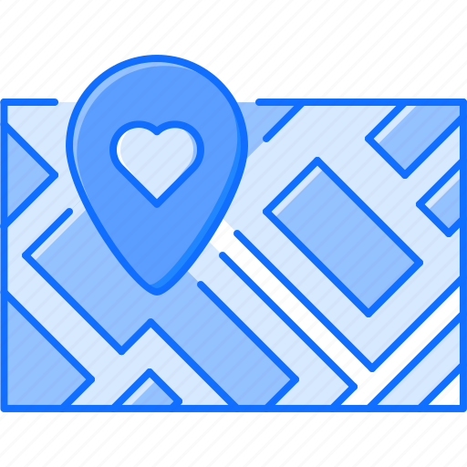 day, heart, location, love, map, relationship, valentine icon