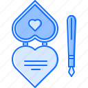 day, heart, love, pen, relationship, valentine icon