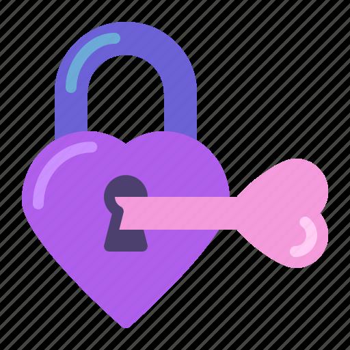 heart, key, lock, padlock icon