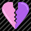 broken, heart, love, two parts