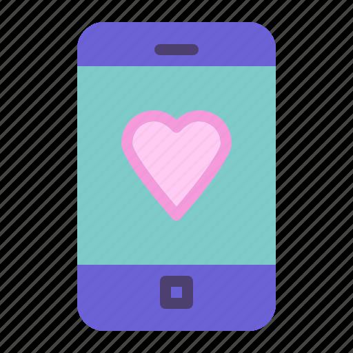 heart, smartphone, telephone icon