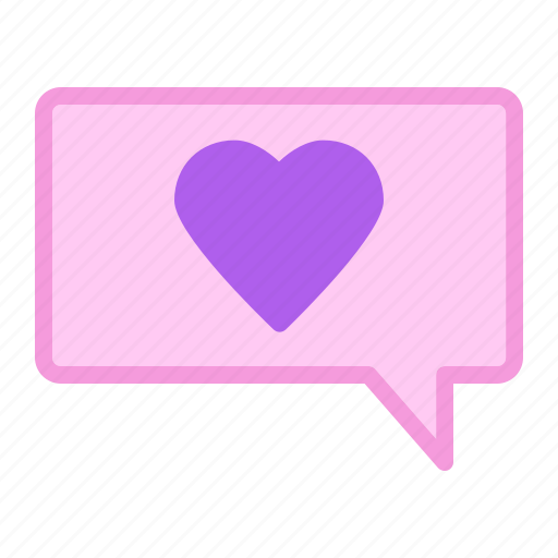 heart, love, message, speech bubble icon