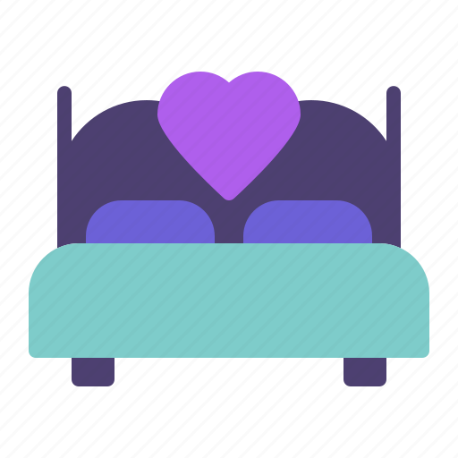 bed, heart, love, sex icon