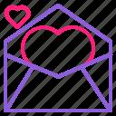 dual, februari, line, love, mail, romantic, valentine icon
