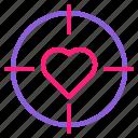 dual, februari, line, love, romantic, target, valentine icon