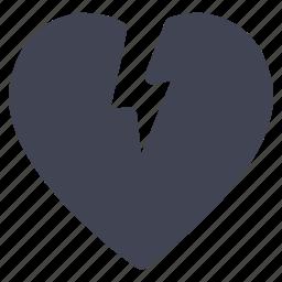 broken, heart, love, marriage, tear icon