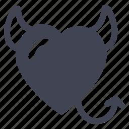 devil, evil, heart, love, marriage icon