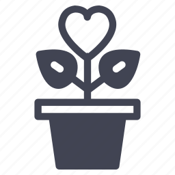 grow, growing, heart, love, marriage, plant icon