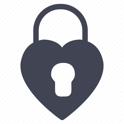 heart, lock, love, marriage, security, valentine icon