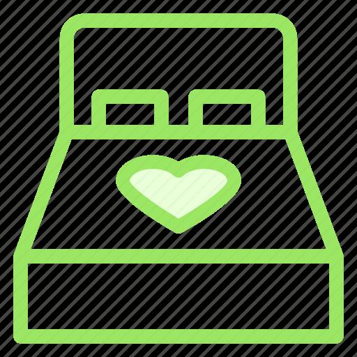 bed, heart, love, romance, wdding icon