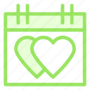 calendar, date, hearts, love icon