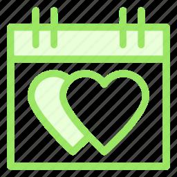 calendar, date, hearts, love icon