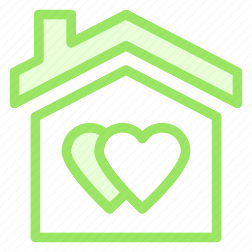 hearts, house, love, romance, wdding icon