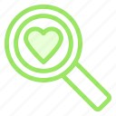 find, heart, love, romance, search, wdding icon