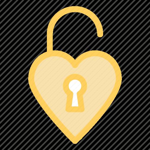 heart, love, romance, unlock, wdding icon